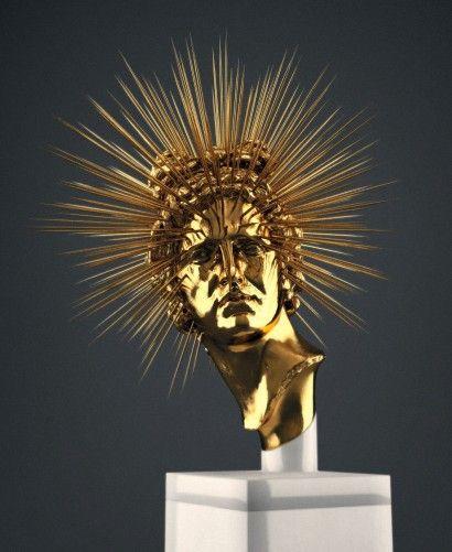 Apollo Rey escultura de Hedi Xandt Mármore e ouro 2013