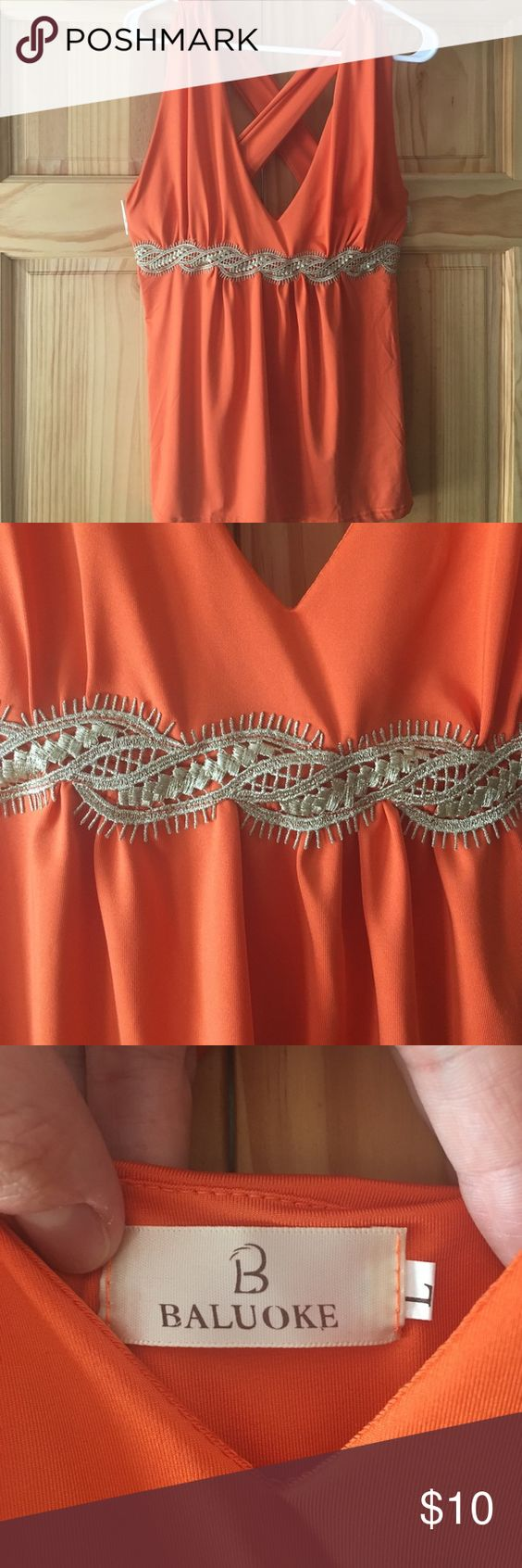 Soft Orange Color Orange Tank With Gold Lace Detail  Lace Colours And The O'jays