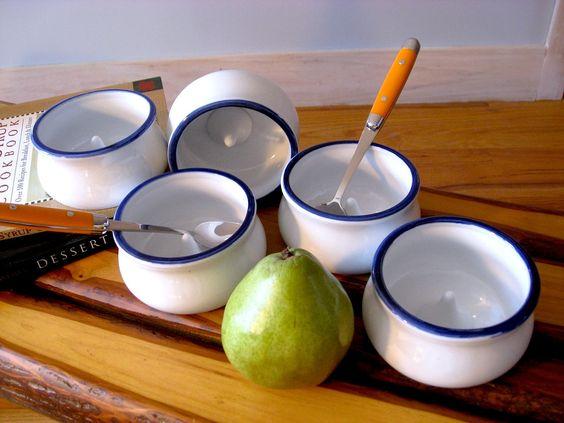 PORCELAIN Ramekin Baking Blue and White porcelain Vintage, Fruit Pear Apple. $19.00, via Etsy.