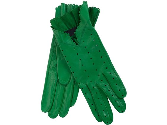 Women - Accessories - Christine Bec Green Leather Gloves \\ Green leather gloves from Christine Bec featuring diamond shaped perforations and a scalloped-edge trim.
