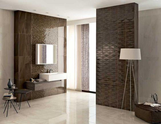 Välj en grundton och lyft fram olika arkitektoniska element i rummet genom att välja en platta i annan färg, med annan struktur eller med ett mönster.