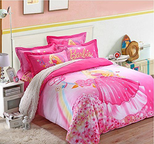 Cute Cartoon Barbie Kids Bedding Set Delicate Pink Fairy Girls