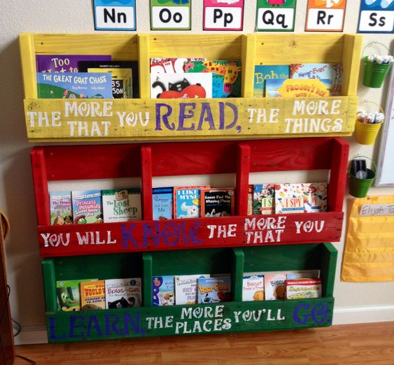 Pallet book shelf. Display book shelves we made from one pallet, with Dr. Seuss quote.: