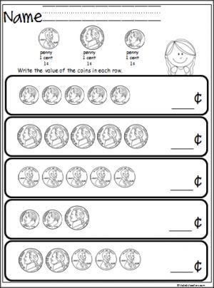 Free coin counting math worksheet. Students practice adding ...
