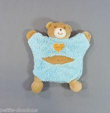 Doudou plat marionnette Ours bleu beige Takinou 27 cm