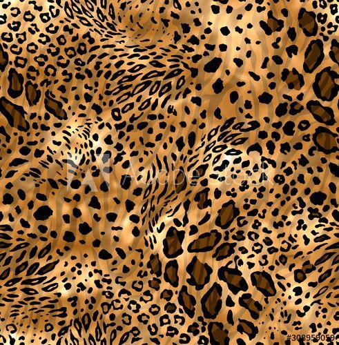 Seamless Wild Skin Pattern Mix Of Tiger Skin Jaguar Skin Leopard Print On Brown Background Buy This Stock Illustra Tiger Skin Stock Illustration Seamless
