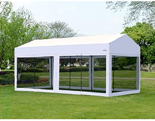 Amazing Offer On Outdoor Living Suntime 10 X 20 Easy Pop Up Canopy Party Tent Heavy Duty Garage Car Shelter White With Removable Sidewalls Online Ppwonderf In 2020 Car Shelter Party