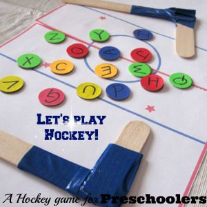 Hockey game for preschoolers (2 versions of learning their letter sounds) by Learning is Messy