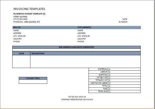 Plumbing Invoice Template  Independent Contractor Invoice