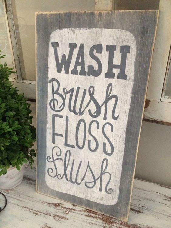 Bathroom Sign Etsy bathroom sign wash brush floss flush wooden sign - hand painted