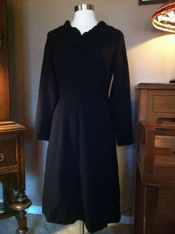 1950's Black Mourning Dress by therabbitsnestshop on Etsy, $50.00