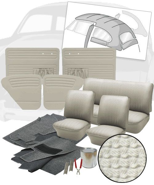 1965 1966 Vw Beetle Sedan Basketweave Vinyl Interior Kit In 2020 Vw Bug Interior Vw Bug Interior
