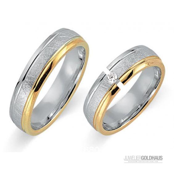 Trauringe Eheringe Gold Gelb/Weiss - CERA3211 - 929,00€ Trauringe Eheringe bei…