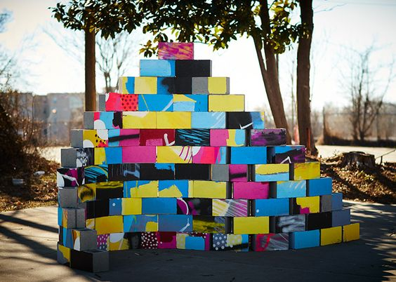 cinder block and wood sculptures by HENSE