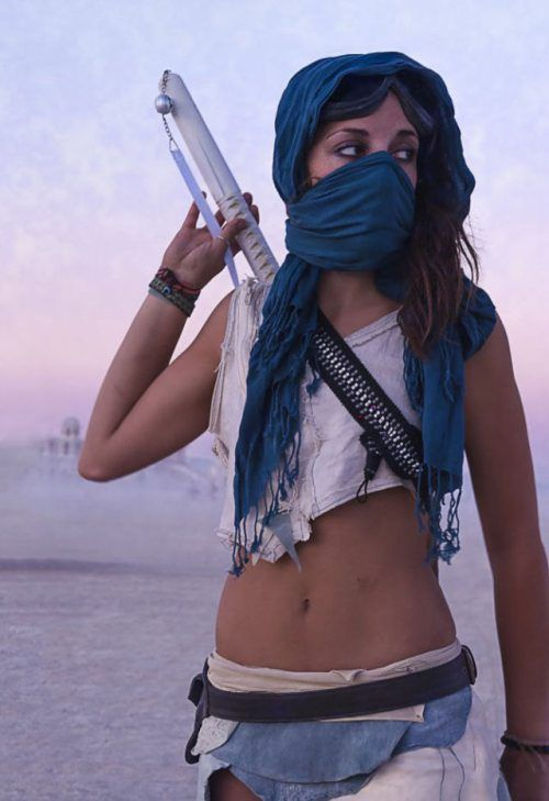 """ways to wear a scarf - Burning Man Girls 