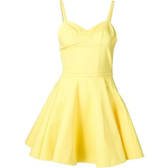 Jeremy Scott fit and flare dress ($715) ❤ liked on Polyvore featuring dresses, jeremy scott, yellow, yellow dress, платья, yellow cotton dress, fit flare dress and jeremy scott dress