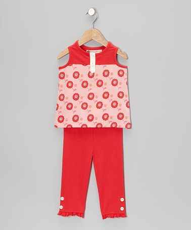 Take a look at this Pink Dot Floral Henley Tunic & Leggings - Toddler & Girls by orange poppy kids on #zulily today!