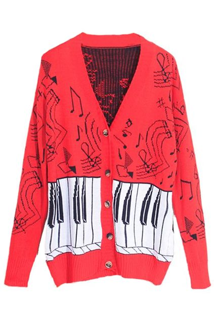 Piano Keyboard & Notes Red Cardigan. funky, nerdy and yet still cute!
