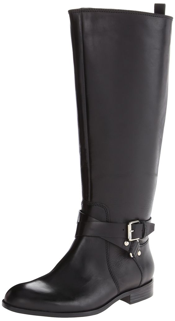Enzo Angiolini Women's Daniana Wide Riding Boot, Black, 6 M US