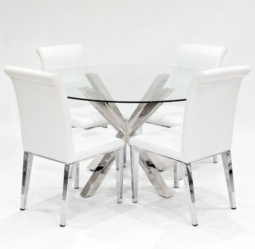 Crossly Chrome Glass Round Dining Table Four Kirkland Chairs The