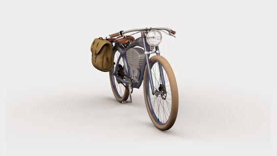 Artwork of Austin Bath: Vintage Electric Bike (Blue)