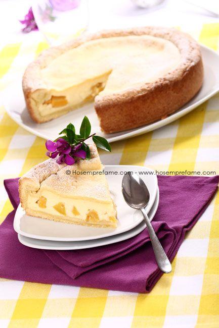 Crostata con crema pasticcera e pesche - Ho sempre fame