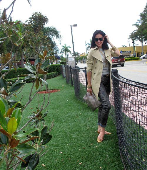 October 3, 2012  http://www.akeytothearmoire.com/post/32801908542/bronzed-python  #J Brand #Python print jeans #gray #khaki #Tan #trench coat #Theory #Ralph Lauren #jellies #Elliott Lucca #metallic #metallic jeans #Amrita Singh #J Crew