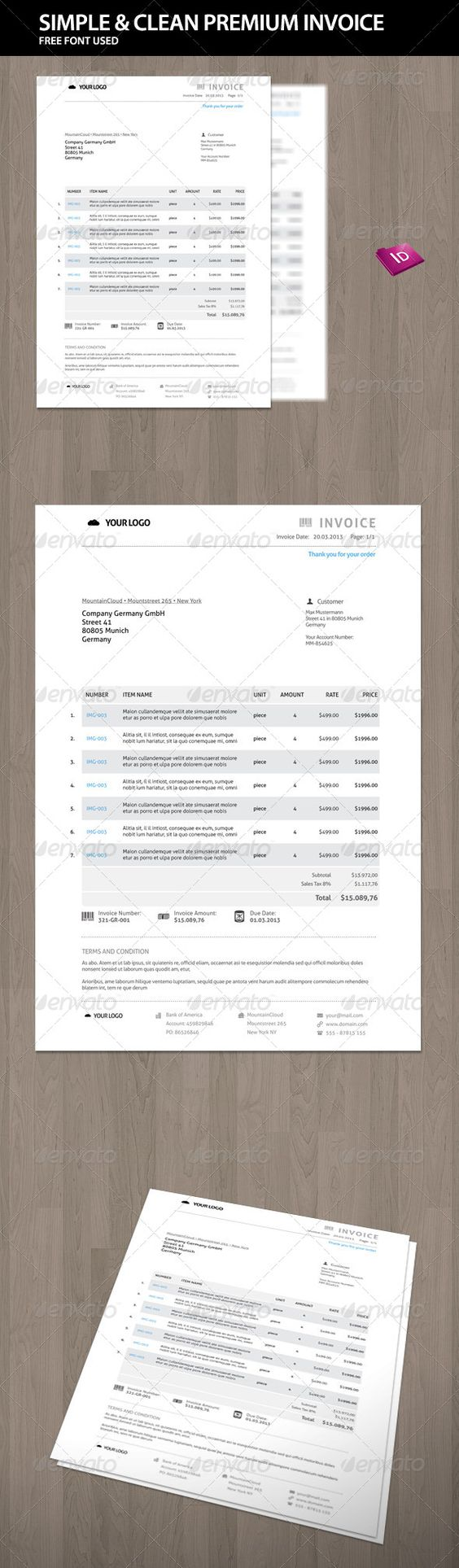 Download Free Service Invoice Template for Excel | Invoice | Pinterest