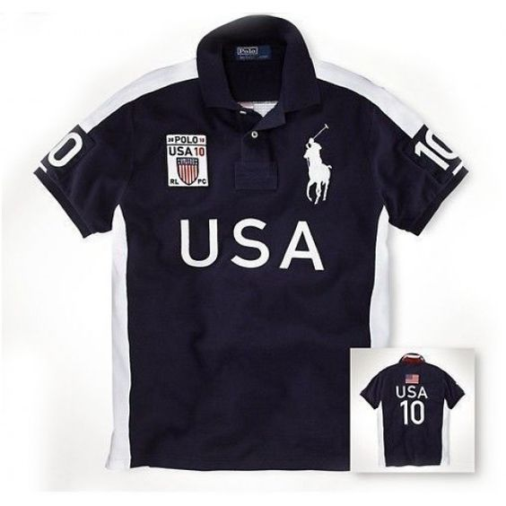 Newest Ralph Lauren Big Pony USA Symbol Flag Navy Sporty Polo [rl 124] -