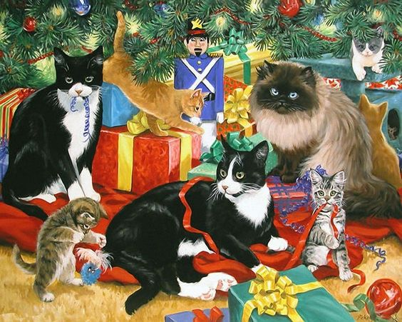 Linda Picken (b.1944) — Chrstmas Gift Kitties (1024x819):