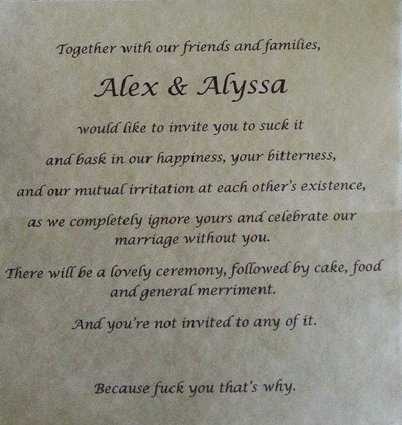 Bride-To-Be Gets Back At Abusive Parents With Sarcastic Wedding Invite