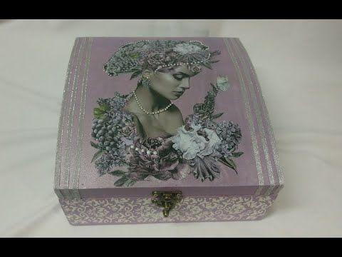 ديكوباج مسطح و استنسل بارز على صندوق خشب Fashion Sewing Decorative Boxes Handicraft