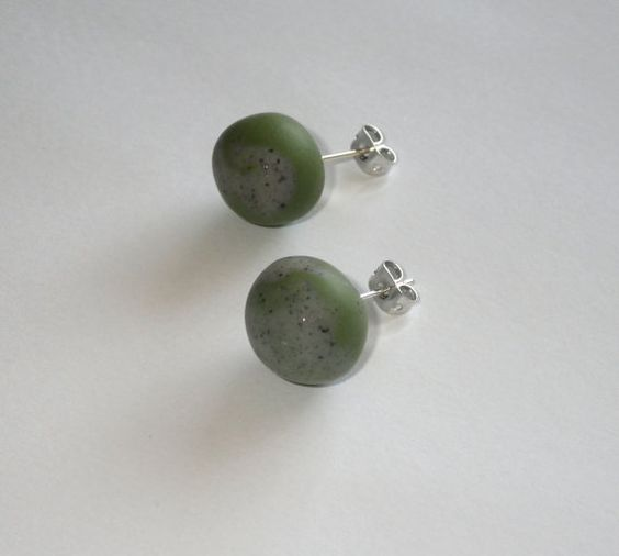 Round Stone and Olive Earrings by TheSparrowsKeep on Etsy, $12.00