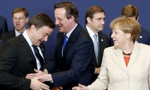 Xavier Bettel, David Cameron, Angela Merkel