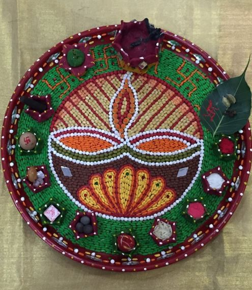 Decoration on pinterest for Aarti thali decoration