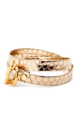 Gold Leather Double Wrap Bracelet