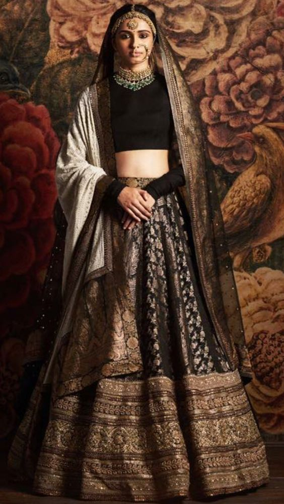 Indian Lehenga Choli Designs For Wedding Black by Sabyasachi Mukherjee