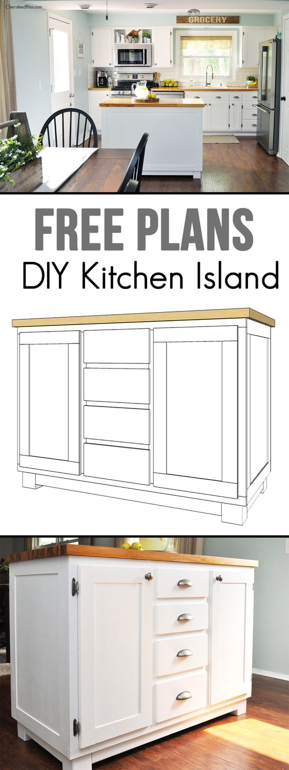 Get the kitchen you've always dreamed of by building this DIY Kitchen Island. It's easy to create and provides great storage! Get the free today!