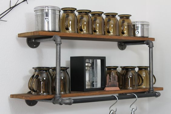 Rustic modern industrial vintage style pot rack pipe shelf for Reclaimed wood pot rack