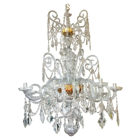 Chandelier Real Fabrica de Cristales de La Granja c.1785  Spain  c.1785  An important antique 18th century Spanish three tier eight light blown glass chandelier, made by the Real Fabrica de Cristales de La Granja for the Palacio Domecq in Jerez de la Frontera, c.1785 Provenance: Palacio Domecq in Jerez de la Frontera