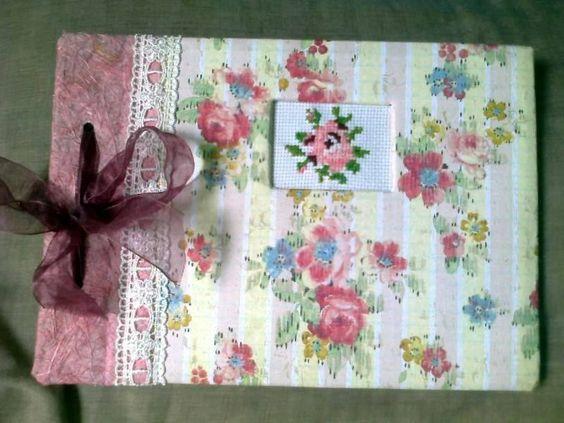 Bushbabies craftworks: Small rose album with cross stitch embellishment