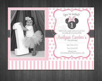 Minnie Mouse inspiré premier anniversaire invitation
