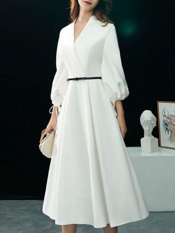 فستان أبيض محتشم و جد راقي White Prom Dress Casual Dress Outfits Trendy Dresses