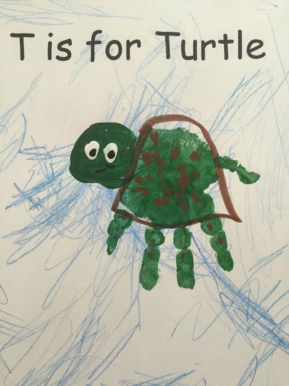 Under the Sea Ocean Unit  T is for Turtle Preschool handprint craft