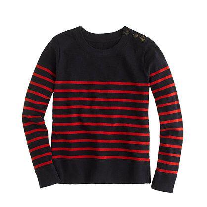Tortoise-button sweatshirt in stripe