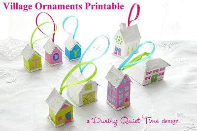 Village Ornaments Printable. Make them out of tissue boxes, cereal boxes, or the cardboard on the back of a pad of paper.