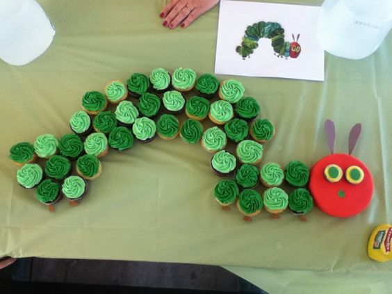 The Very Hungry Caterpillar that I (@Rebekah Smith) made from cupcakes.