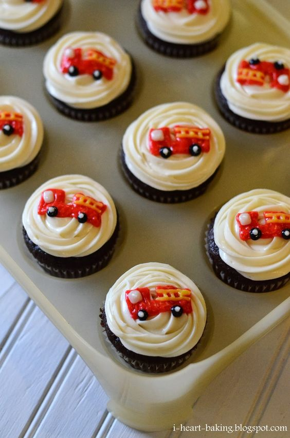 Fire Truck Cupcakes   Shared by LION