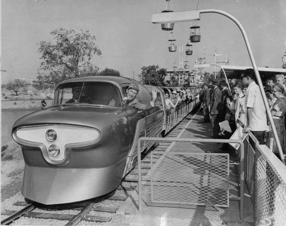 "Walt Disney on the old ""Viewliner"" attraction at Disneyland."