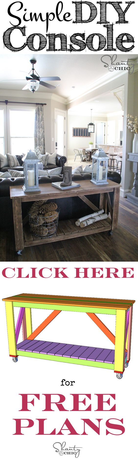 Easy DIY Console Table. Assembled with a finish nailer for about $100!